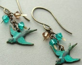 Blue skies calling, Turquoise patina brass birds with Swarovski crystals and handmade brass findings