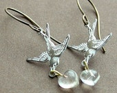 Pure Love, White patina brass birds with glass hearts