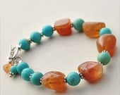 Southwestern Sunrise, Turquoise and Hessonite Garnet Bracelet