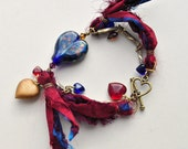 Bohemian Love 3, Bracelet of Lampwork Glass, Sari Silk, and Vintage Brass
