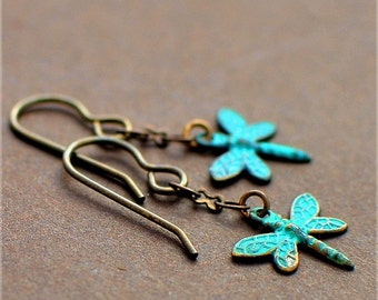 Dragonfly Song, Earrings in Oxidized Brass with Turquoise Patina