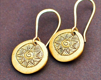 Lucky Old Sun, Earrings of Vintage Brass