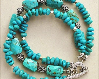 Turquoise Trails, Triple-Strand Bracelet in Genuine Turquoise and Sterling Silver