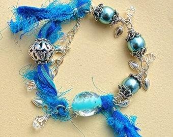 Summertime Blues, Bracelet of Glass Pearls, Sari Silk, Sterling Silver, and Swarovski Crystal
