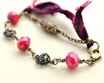 Deep Love: Bracelet of Faceted Glass, Sari Silk, and Vintage Brass