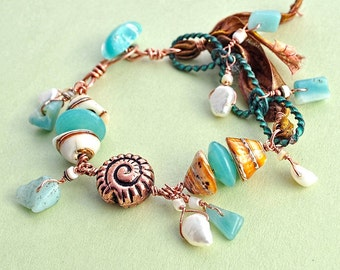 Beachcomber 2: Bracelet of Shell, Pearls, Glass, Green Aventurine, Copper, and Fiber