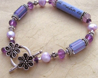 Le Printemps, Bracelet of Amethyst, Glass, Pearls, and Silk Scroll