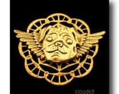 PUG Guardian ANGEL PIN / Jewelry for Dog Lovers by Cloud K9 / Pug Jewelry Brooch for Pet Loss, Pet Memorial, Pet Remembrance Sympathy