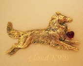 Collie Sheltie Brooch Pin My COLLIE LOVES ME Pin with Red Glass Heart Bead Rough Collie (Shetland Sheepdog) Dog Lovers Jewelry Cloud K9