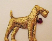 Airedale Brooch Pin .My AIREDALE LOVES ME Pin with Red Glass Heart Bead (Wire Fox, Welsh, Irish Terrier) Dog Lovers Jewelry Cloud K9