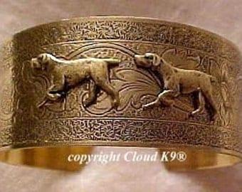 German Shorthaired Pointer CUFF BRACELET / Vintage Style German Shorthaired Pointer Jewelry / Signed Cloud K9
