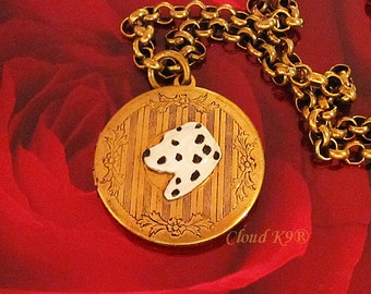 DALMATIAN LOCKET NECKLACE Vintage Style Dalmatian Jewelry. Gifts for Dalmation Lovers by Cloud K9..Locket Pendant Holds 2 photos