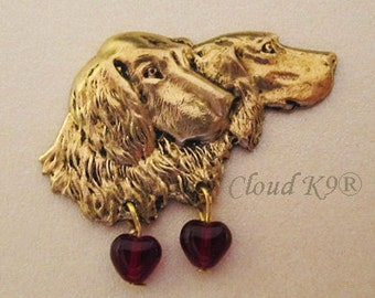 Setter Brooch Pin. My SETTERS LOVE ME Pin with Red Glass Heart Beads (Irish, English, Gordon Setter Jewelry Gift for Dog Lovers