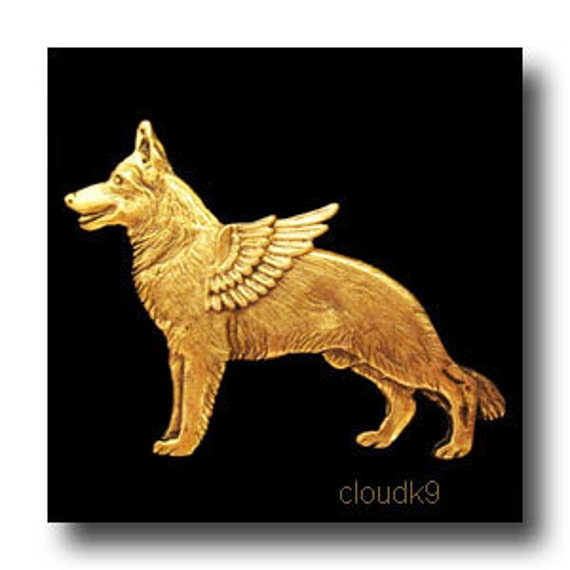 German Shepherd Angel Pin. German Shepherd Jewelry. Dog Sympathy Gifts for Dog Lovers. Brooch for Pet Loss Memorial. Alsatian Guardian Angel