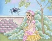 Little Miss Muffett Nursery Rhymes Print- Children's Wall Art and Decor-  Baby Nursery Art