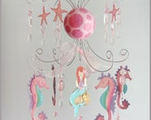 Mermaid Chandelier Mobile- Baby Mobile- Nursery Mobile- pink