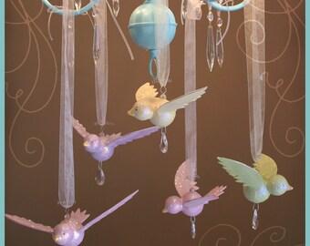 Handmade Hanging Bird- Baby Mobile- Nursery Mobile