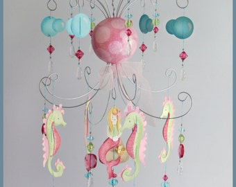 Raspberry Pink and Green Mermaid Chandelier Mobile- Baby Mobile- Nursery Mobile- Seahorse