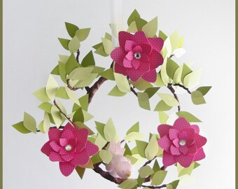 Hot Pink Swing Branch and baby bird mobile- baby Mobile- Nursery Mobile