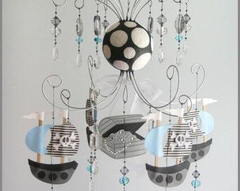Blue Pirate Chandelier- baby Mobile- Nursery Mobile- blue- boy