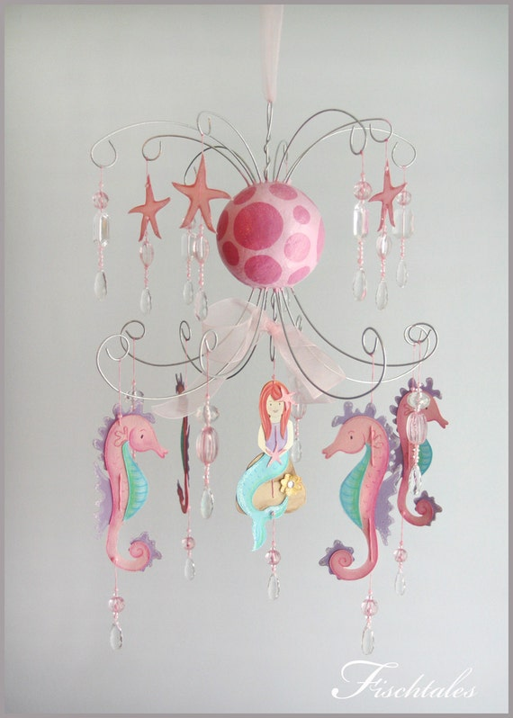 Mermaid Chandelier Mobile- Baby Mobile- Nursery Mobile- pink