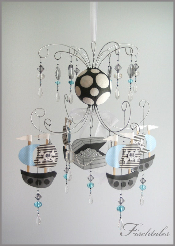 Pirate Baby Mobile Blue Pirate Chandelier Baby