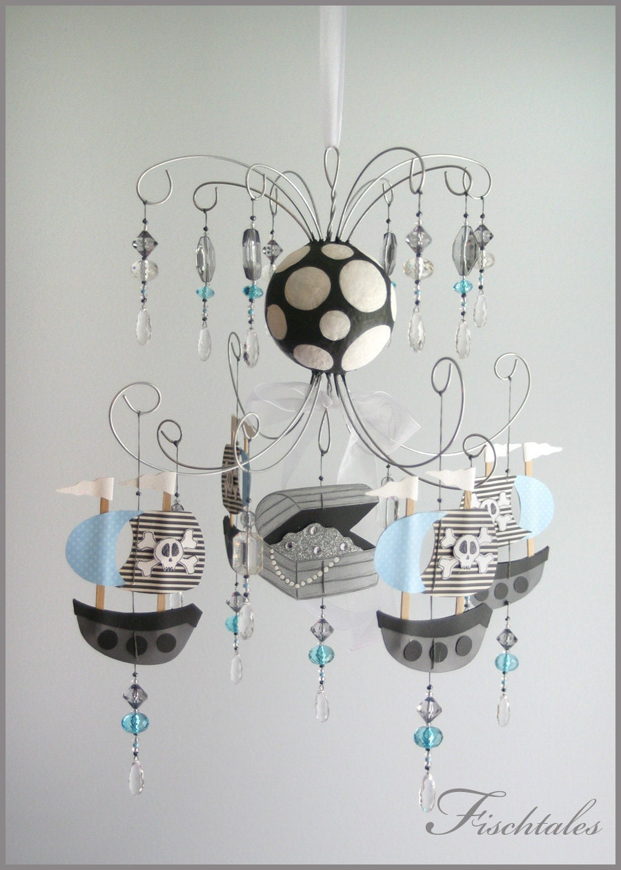 Baby Bedroom Chandeliers: Blue Pirate Chandelier Baby Mobile Nursery Mobile Blue Boy