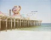 8x10 Pier Print - Beach Photography - Retro Polaroid Print - Seaside Boardwalk