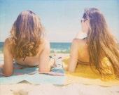 Beach Hair - 8x10 Retro Polaroid Print - Summer Vacation Best Friends Ocean