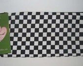 Black n White Checked Zippered Pouch