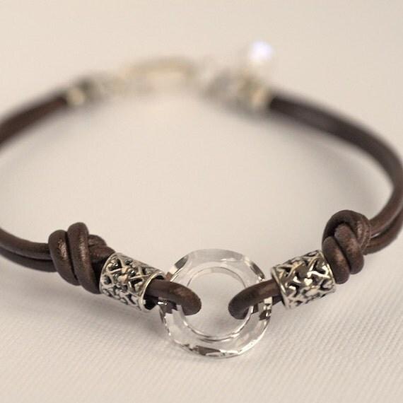 Lovely Brown Greek Leather Bracelet With Swarovski Crystal Centerpiece