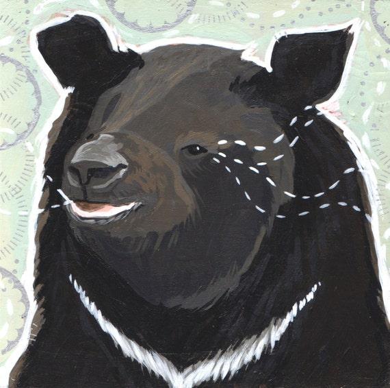 Cute Sloth Bear, Acrylic, Art Print , Woodland Nursery, Animal Art, Woodland decor, kid wall art, woodland creature, bear animal print