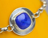 Blue Lapis Square Sterling Adjustable Bracelet