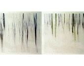 Winter art - Winter photography - Winter Forest Diptych  -  Fine art photography print -  abstract woodland - 5 x 10