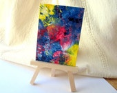 Abstract Aceo Original Colorful Painting - Sudden Storm