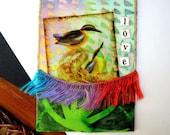 Original ACEO Mixed Media Fabric Collage - Bird Love