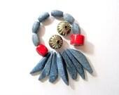 Blue Sponge Coral Barrel and Dagger Bead Assortment