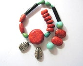Bead Mix Turquoise and Red Sponge Coral Destash