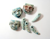 Blue Ceramic Face Beads and Decorative Teeth