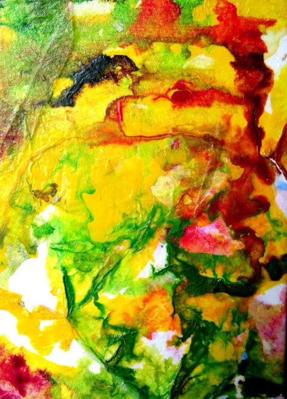 Abstract ACEO Painting Original -  Yellow Spring Garden
