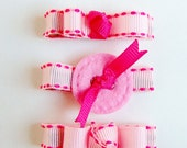 Set of Three Hot Pink Stitched Clippies