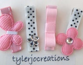 Set of Four Pink and Black Polka Dot Clippies