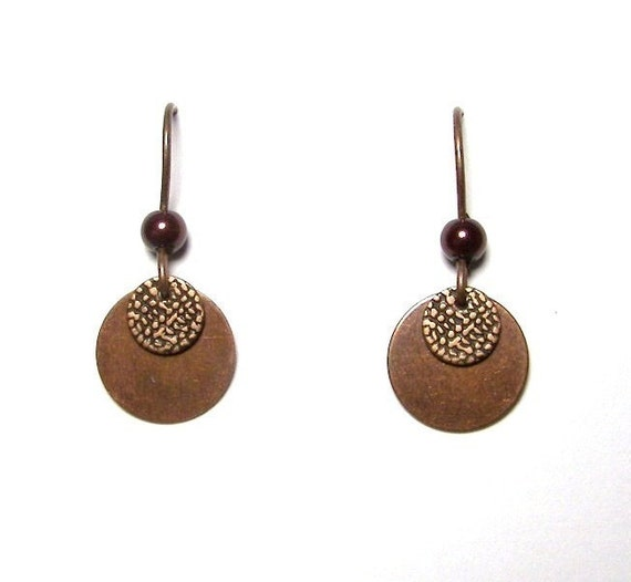 Antique Copper with Dark Chocolate Glass Pearls Earrings