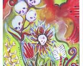 Fatal Flower Garden--Original Painting PRINT--by Hilary Blackwood