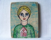 Home is Where the Heart Is --Original Mixed Media Folk Art Painting with Handmade Milagro