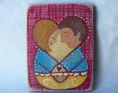 The Lovers - Mini Folk Art Original by Hilary Blackwood