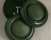 3 Green Celluloid Coat VINTAGE BUTTONS- 1-1/2 Inch