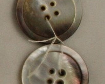 2 Very Lg Grey Pearl Shell-VINTAGE BUTTON-1-1\/2 Inch