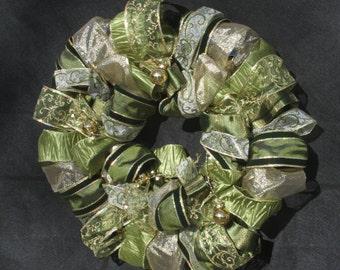 Medium Holiday Ribbon Wreath - sage green and gold