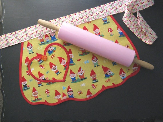 GNOME IS WHERE THE HEART IS Vintage Inspired Child's Apron
